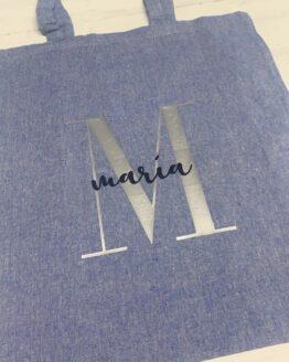 Bolsa tote azul con tu nombre