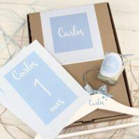 Caja nacimiento Rayas azul