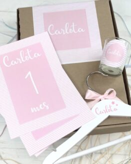 Caja nacimiento rayas rosa