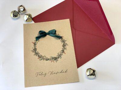 Tarjeta Navidad burgundy